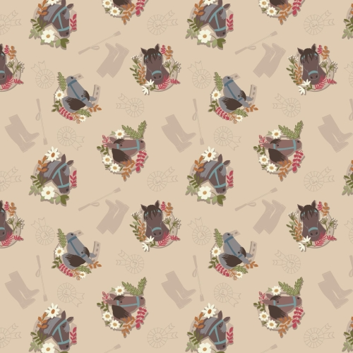 <!--4189-->Lewis & Irene - Farley Mount Horse on Natural, per fat quarter