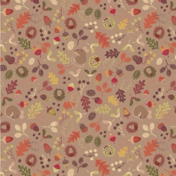 Lewis & Irene - Autumn in Bluebell Wood Woodland Mouse on Light Earth, per fat quarter