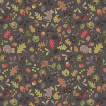 Lewis & Irene - Autumn in Bluebell Wood Woodland Mouse on Dark Earth, per fat quarter