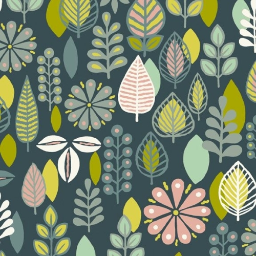 <!--3165-->Makower UK - Modern Retro Foliage in Blue, per fat quarter