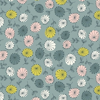 Makower UK - Modern Retro Flowers in Blue, per fat quarter