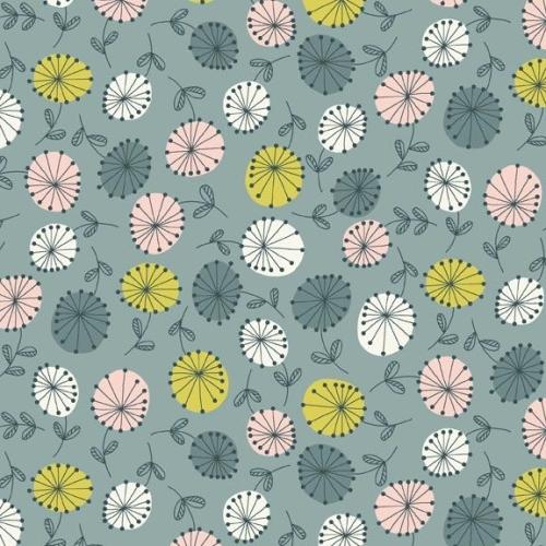 <!--3167-->Makower UK - Modern Retro Flowers in Blue, per fat quarter