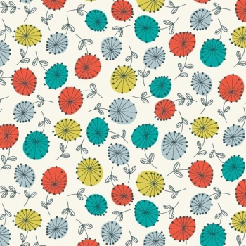 Makower UK - Modern Retro Flowers in Turquoise, per fat quarter