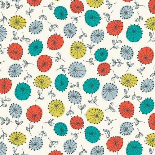 <!--3169-->Makower UK - Modern Retro Flowers in Turquoise, per fat quarter