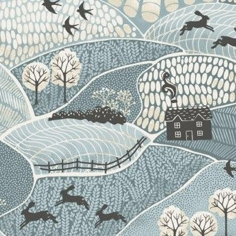 Makower UK - Into The Woods Landscape in Blue, per fat quarter