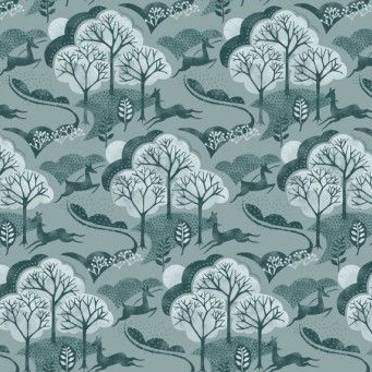 Makower UK - Into The Woods Trees in Blue, per fat quarter