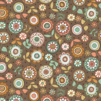 Makower UK - Doodle Days Large Flowers in Hessian, per fat quarter
