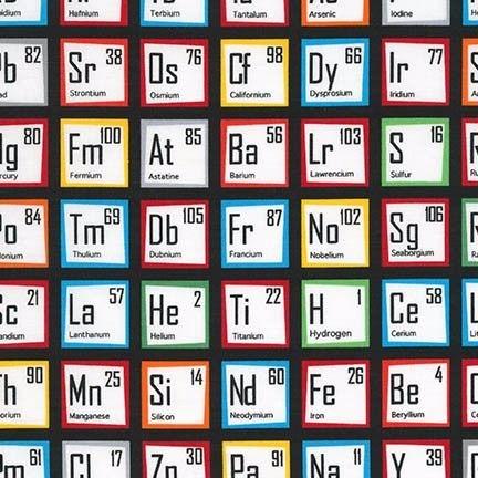 <!--5416-->Robert Kaufman - Science Fair Periodic Table, per fat quarter