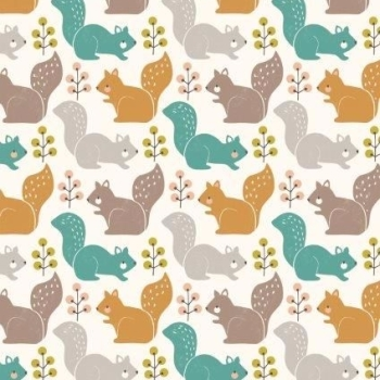 Dashwood Studios - Harvest Wood - Squirrels, per fat quarter