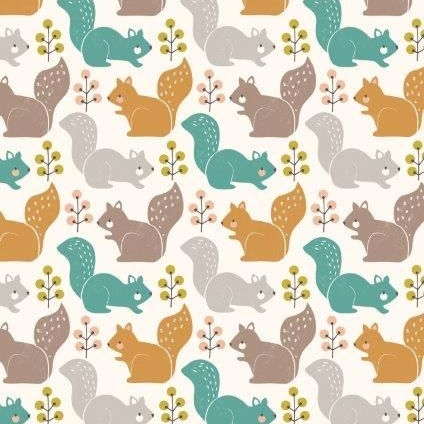 <!--5008-->Dashwood Studios - Harvest Wood - Squirrels, per fat quarter
