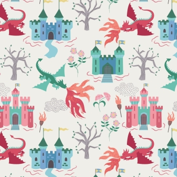 Lewis & Irene - Dragon Castle On Cream, per fat quarter