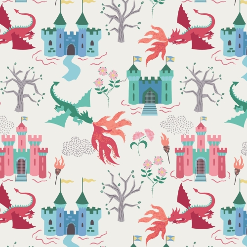 <!--4201-->Lewis & Irene - Dragon Castle On Cream, per fat quarter
