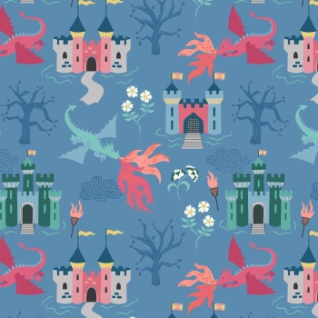 Lewis & Irene - Dragon Castle On Light Blue, per fat quarter