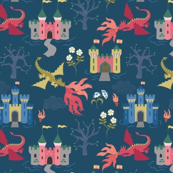 Lewis & Irene - Dragon Castle On Dark Blue, per fat quarter