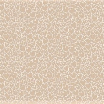 Makower UK - Essentials White Hearts on Nude, per fat quarter **WAS £2.40**