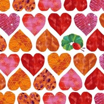 Makower UK - The Very Hungry Caterpillar Hearts, per fat quarter  ***WAS £2.75***