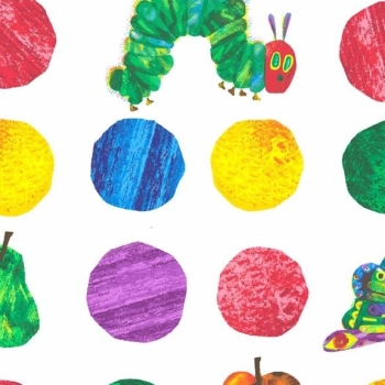 Makower UK - The Very Hungry Caterpillar Large Spots, per fat quarter  ***WAS £2.75***