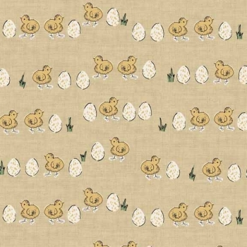 Makower UK - Home Grown Chicks and Eggs in Yellow, per fat quarter  ***WAS £2.65***
