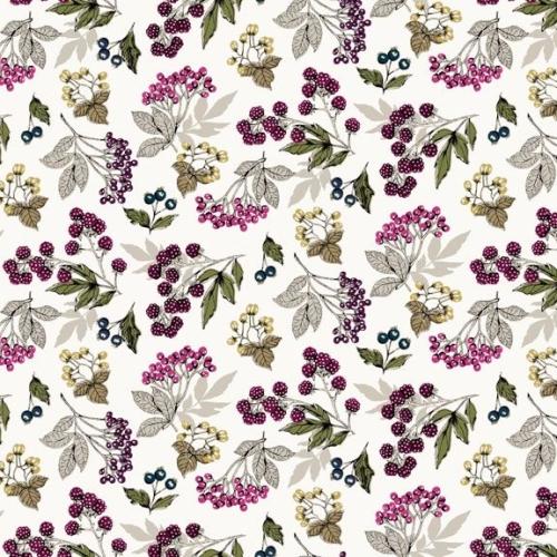 <!--3160-->Makower UK - Botanica Forest Fruits in Antique White, per fat qu