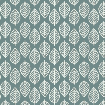 Makower UK - Modern Retro Leaf in Slate Blue, per fat quarter  ***WAS £2.00***