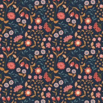 Lewis & Irene - Chieveley Country House Floral on Darkest Blue, per fat quarter