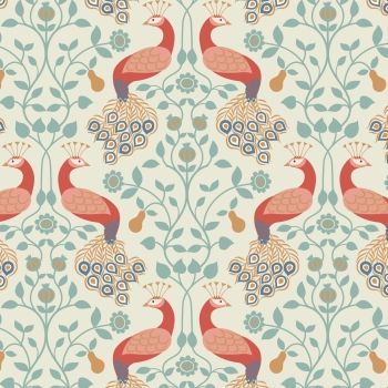 Lewis & Irene - Chieveley Peacock & Pear on Cream, per fat quarter