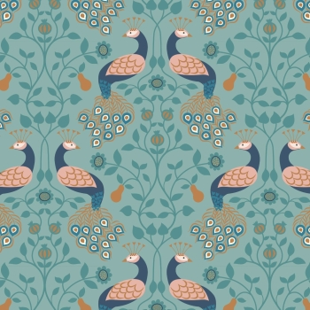 Lewis & Irene - Chieveley Peacock & Pear on Blue, per fat quarter  **WAS £2.90**