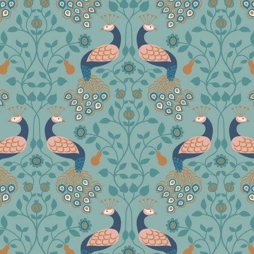 <!--4207-->Lewis & Irene - Chieveley Peacock & Pear on Blue, per fat quarte