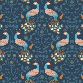 Lewis & Irene - Chieveley Peacock & Pear on Dark Blue, per fat quarter