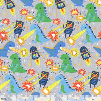 Blend Fabrics - Monster Vs Robots - Meltdown on Grey, per fat quarter ***WAS £3.00***