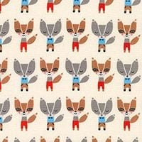 Robert Kaufman - Urban Zoologie - Suzy's Minis Mini Foxes in Natural , per fat quarter  ***WAS £3.00***