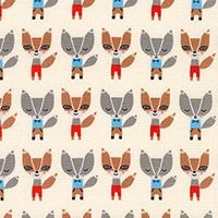 Robert Kaufman - Urban Zoologie - Suzy's Minis Mini Foxes in Natural , per fat quarter
