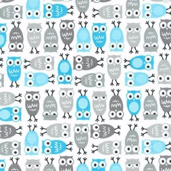Robert Kaufman - Urban Zoologie Minis Owls in Blue, per fat quarter  ***WAS £3.00***