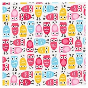 Robert Kaufman - Urban Zoologie Minis Owls in Sweet Pink, per fat quarter  ***WAS £3.00***