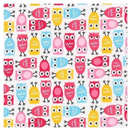 <!--5410A-->Robert Kaufman - Urban Zoologie Minis Owls in Sweet Pink, per f