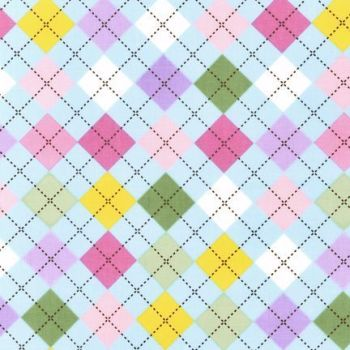 Robert Kaufman - Remix Argyle in Spring Blue, per fat quarter  ***WAS £3.00***