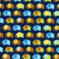 <!--5410-->Robert Kaufman - Urban Zoologie Minis Elephant in Navy, per fat quarter