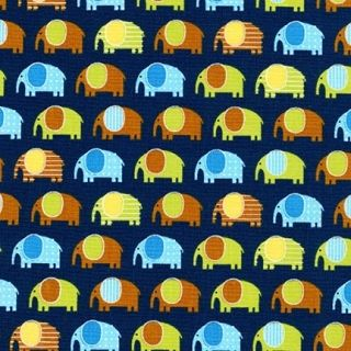 Robert Kaufman - Urban Zoologie Minis Elephant in Navy, per fat quarter  ***WAS £3.00***