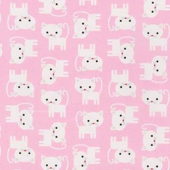 Robert Kaufman - Urban Zoologie FLANNEL - Cats in Baby Pink, per fat quarter  ***WAS £3.00***