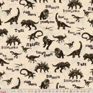 Cosmo Fabrics - Linen Blend - Retro Dinosaurs on Natural, per fat quarter