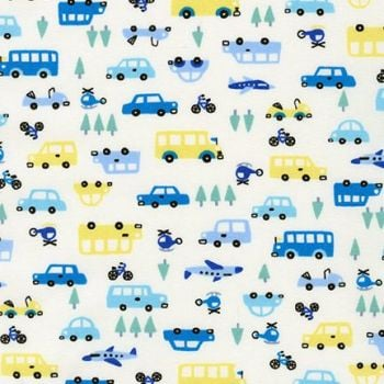Sevenberry - MIni Prints Cars in Blue/Yellow, per fat quarter **WAS £2.40**