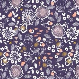 Dashwood Studios - Autumn Rain - Small Flowers on Blue, per fat quarter