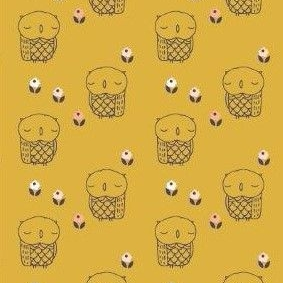 <!--5013-->Dashwood Studios - Autumn Rain - Owls on Yellow, per fat quarter