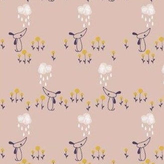 Dashwood Studios - Autumn Rain - Dogs on Taupe, per fat quarter  **WAS £2.85**