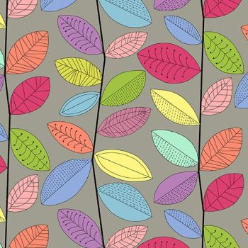 Makower UK - Uptown Rainbow Vines in Grey, per fat quarter