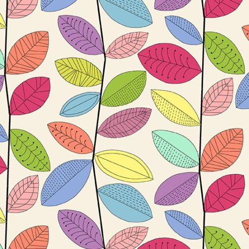 <!--3199-->Makower UK - Uptown Rainbow Vines in White, per fat quarter