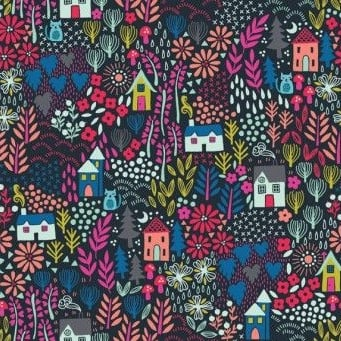 Makower UK - Kitty Garden in Grey, per fat quarter