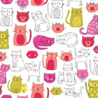 Makower UK - Kitty Cats in Pink, per fat quarter