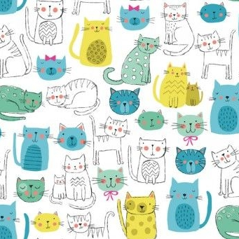 Makower UK - Kitty Cats in Blue, per fat quarter