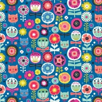Makower UK - Kitty Floral in Blue, per fat quarter    **WAS £2.65**
